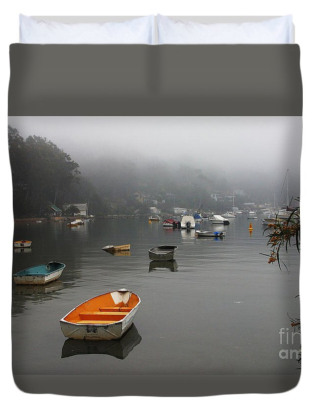 Mist Duvet Cover featuring the photograph Careel Bay Mist by Sheila Smart Fine Art Photography