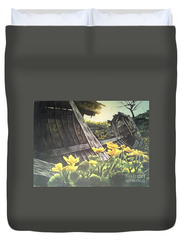 Watercolor Duvet Cover featuring the painting Careened by William Kelsey
