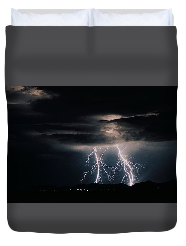 Arizona Duvet Cover featuring the photograph Carefree Lightning by Cathy Franklin