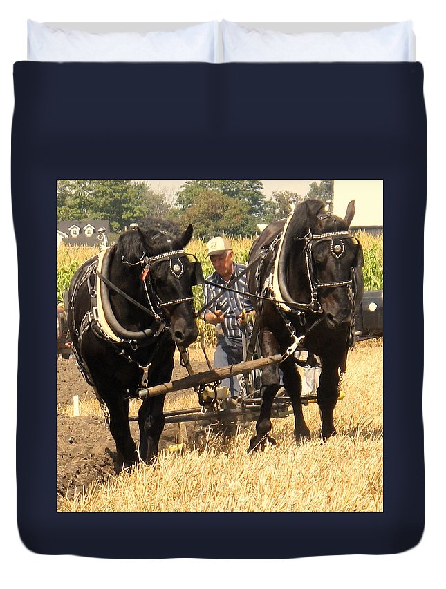 Horses Duvet Cover featuring the photograph Careful Careful by Ian MacDonald