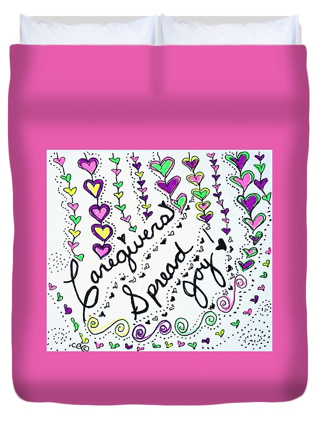 Caregiver Duvet Cover featuring the drawing Caregivers Spread Joy by Carole Brecht