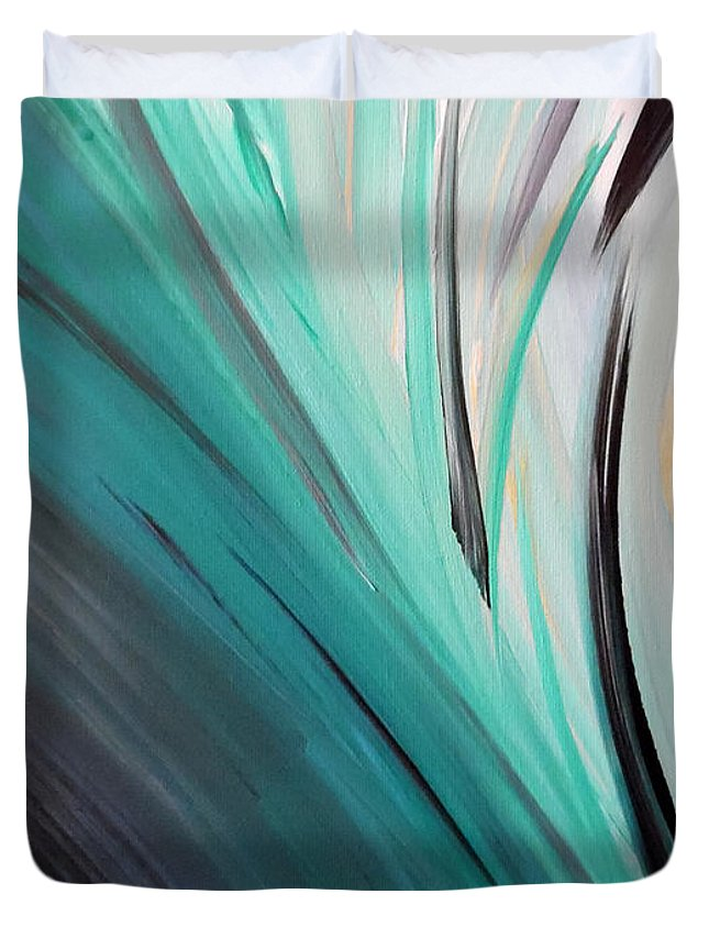 Turquoise Wave Duvet Cover featuring the painting Caribbean Calm by Jilian Cramb - AMothersFineArt