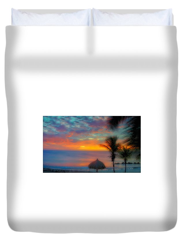 Sunset Duvet Cover featuring the photograph Caribbean Dreams by Stephen Anderson