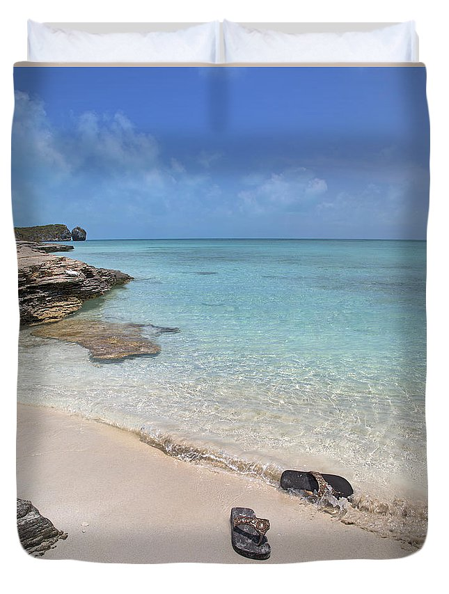 Flip Duvet Cover featuring the photograph Caribbean Flippin Flops by Betsy Knapp