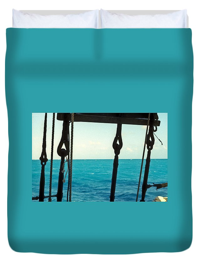 Caribbean Duvet Cover featuring the photograph Caribbean From A Square Rigger by Douglas Barnett