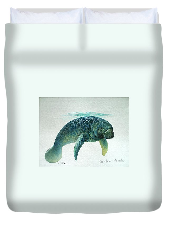Manatee Duvet Cover featuring the painting Caribbean Manatee by Christopher Cox