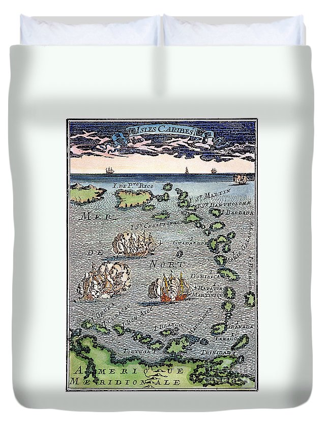 1688 Duvet Cover featuring the photograph Caribbean Map by Granger