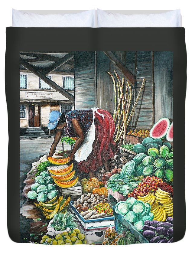 Caribbean Painting Market Vendor Painting Caribbean Market Painting Fruit Painting Vegetable Painting Woman Painting Tropical Painting City Scape Trinidad And Tobago Painting Typical Roadside Market Vendor In Trinidad Duvet Cover featuring the painting Caribbean Market Day by Karin Dawn Kelshall- Best