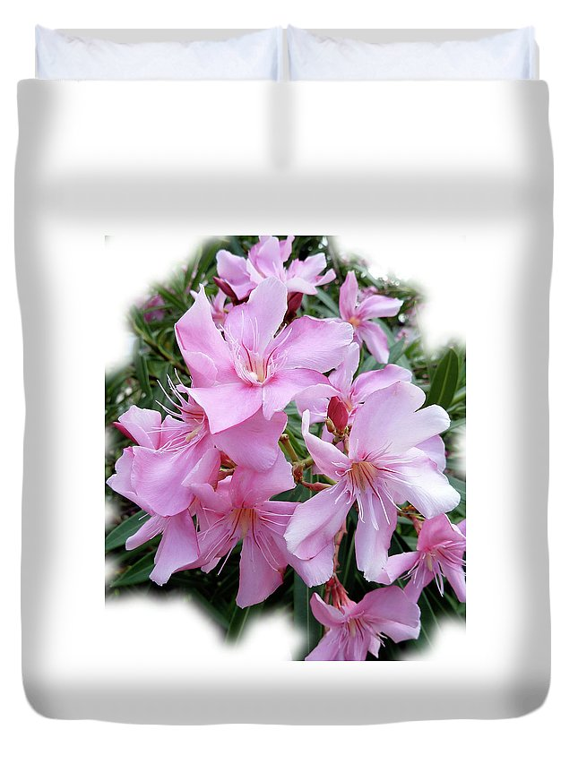 Pink Duvet Cover featuring the photograph Caribbean Oleander by Marie Hicks