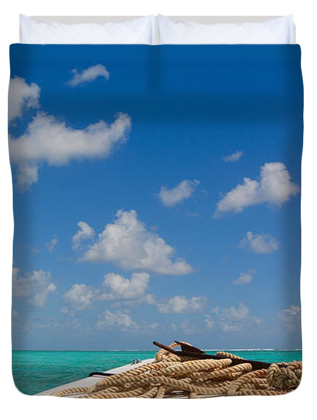 Belize Duvet Cover featuring the photograph Caribbean Sea by Donna Shahan