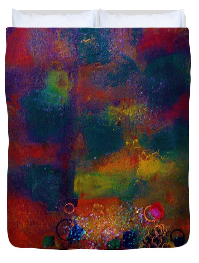Abstract Duvet Cover featuring the painting Caribbean Treasures by Catalina Walker