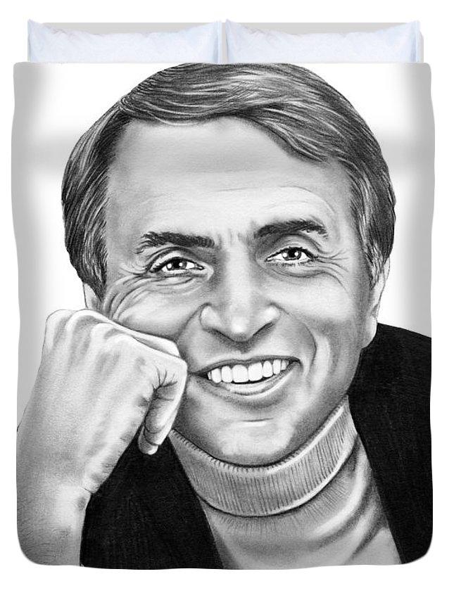 Pencil Duvet Cover featuring the drawing Carl Sagan by Murphy Elliott