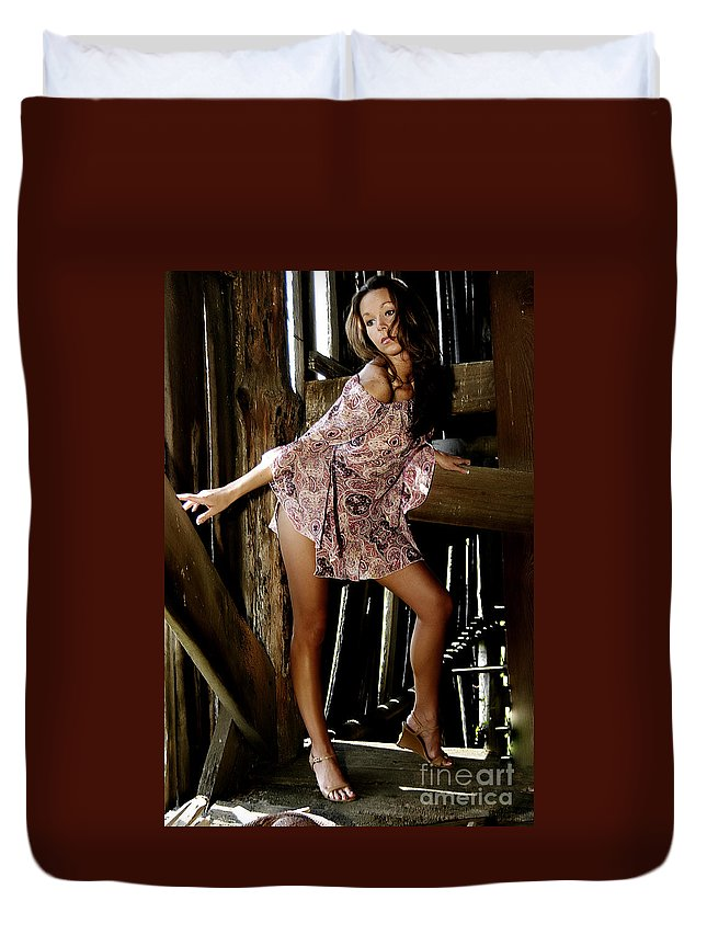 Clay Duvet Cover featuring the photograph Carla's In The Barn Again by Clayton Bruster