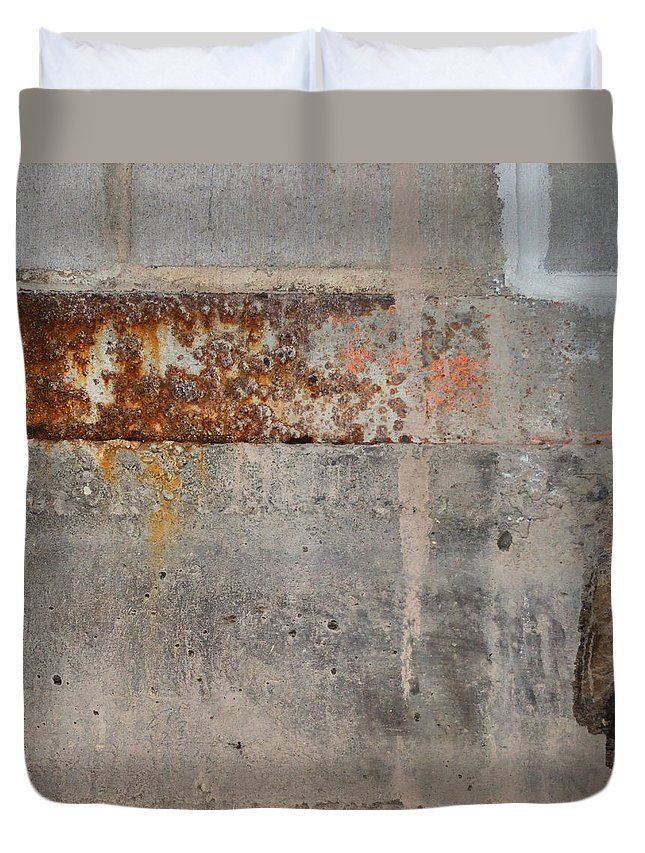 Concrete Duvet Cover featuring the photograph Carlton 16 Concrete Mortar And Rust by Tim Nyberg