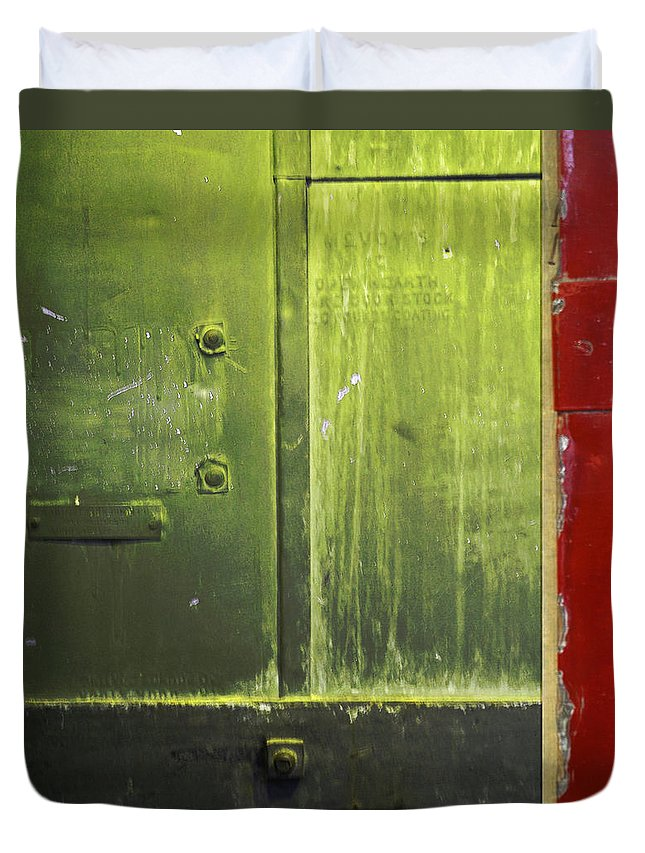 Metal Duvet Cover featuring the photograph Carlton 6 - Firedoor Abstract by Tim Nyberg