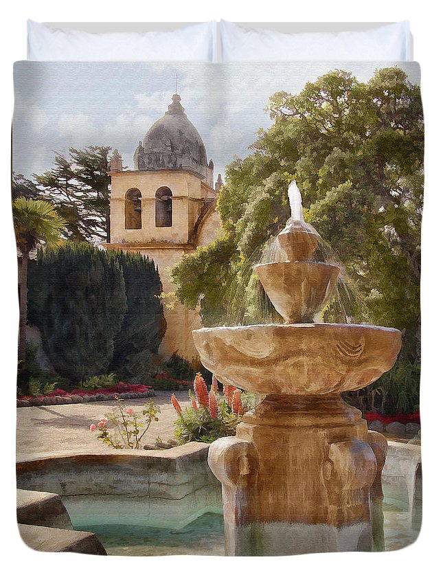 Mission Duvet Cover featuring the digital art Carmel Fountain Courtyard by Sharon Foster