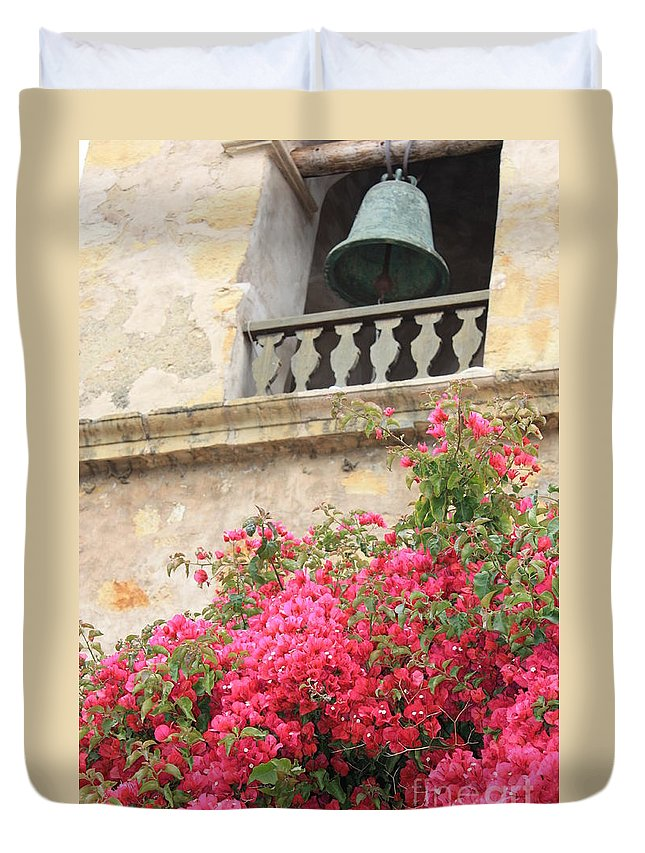 Carmel-by-the-sea Duvet Cover featuring the photograph Carmel Mission Bell by Carol Groenen