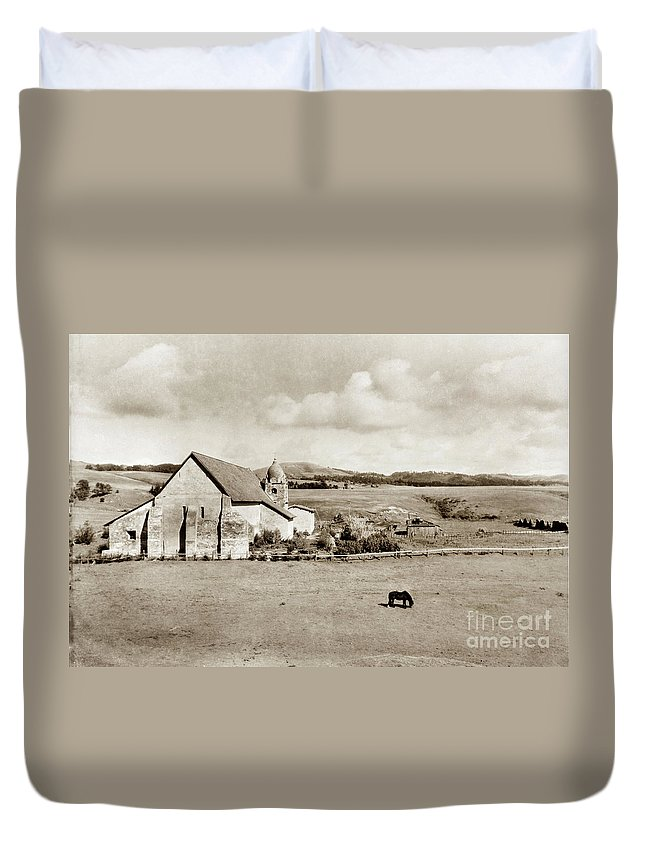 Carmel Mission Duvet Cover featuring the photograph Carmel Mission Circa 1920 by California Views Archives Mr Pat Hathaway Archives