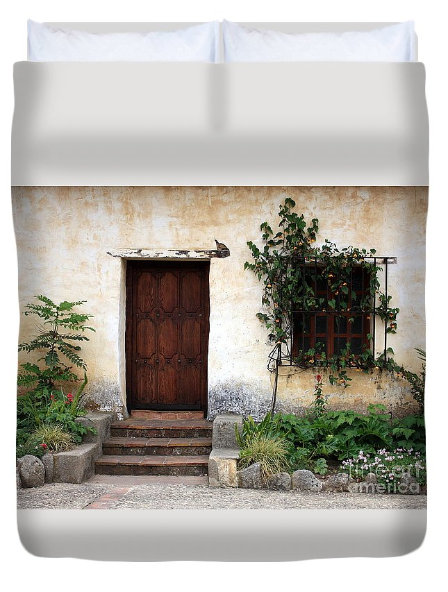 Carmel Mission Duvet Cover featuring the photograph Carmel Mission Door by Carol Groenen