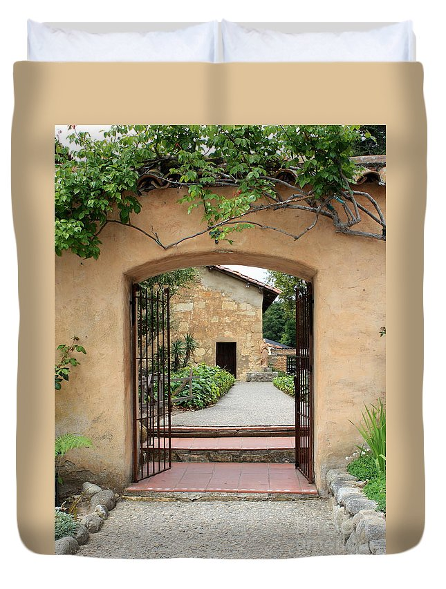 Carmel Mission Duvet Cover featuring the photograph Carmel Mission Path by Carol Groenen