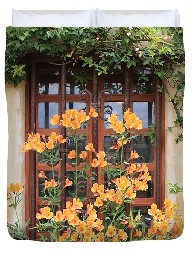 Alstroemeria Duvet Cover featuring the photograph Carmel Mission Window by Carol Groenen