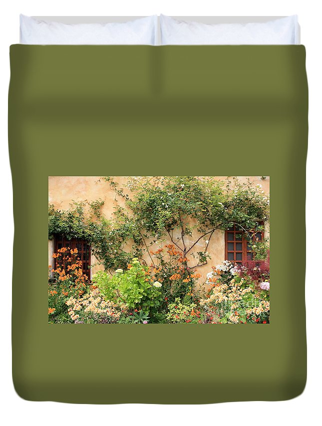 Carmel Mission Duvet Cover featuring the photograph Carmel Mission Windows by Carol Groenen