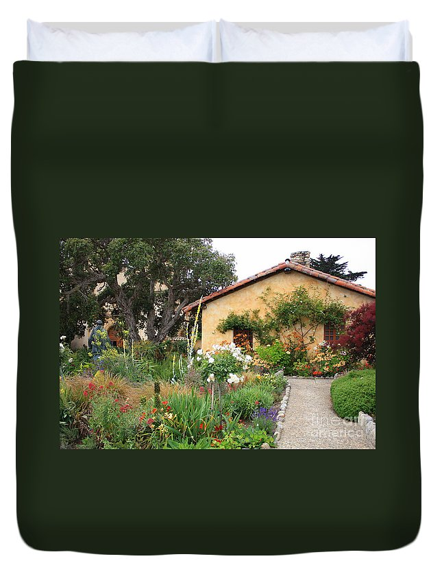 Carmel Duvet Cover featuring the photograph Carmel Mission With Path by Carol Groenen