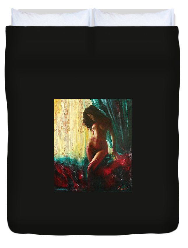 Art Duvet Cover featuring the painting Carmen by Sergey Ignatenko