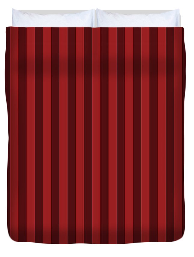 Carmine Duvet Cover featuring the digital art Carmine Red Striped Pattern Design by Ross