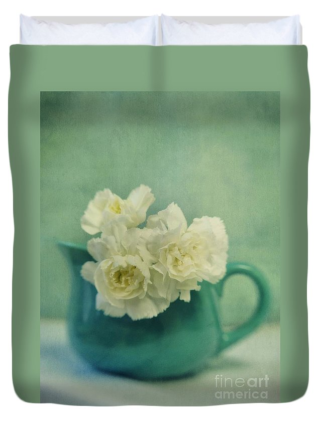 Carnation Duvet Cover featuring the photograph Carnations In A Jar by Priska Wettstein