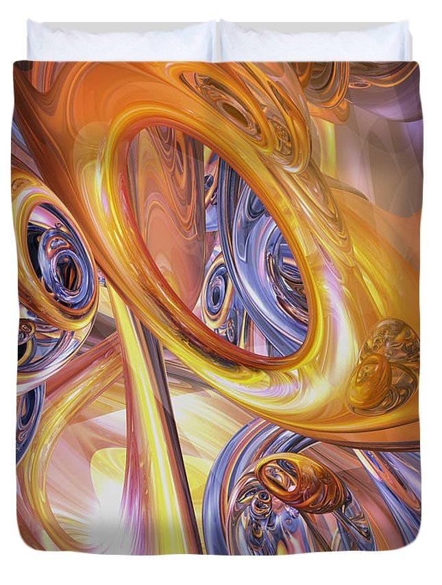 3d Duvet Cover featuring the digital art Carnival Abstract by Alexander Butler