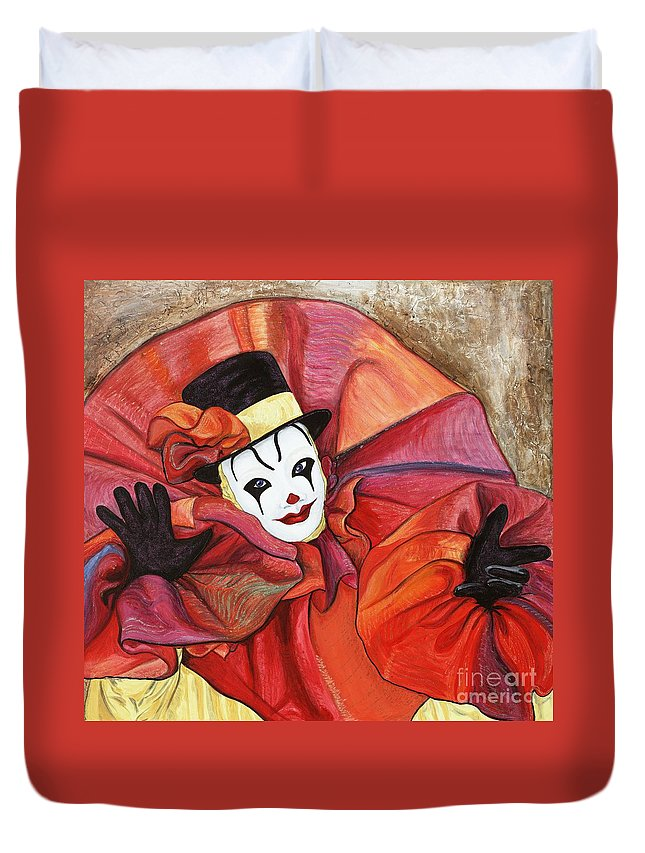 Clown Duvet Cover featuring the painting Carnival Clown by Patty Vicknair