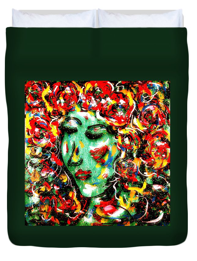 Girl Duvet Cover featuring the painting Carnival Girl by Natalie Holland