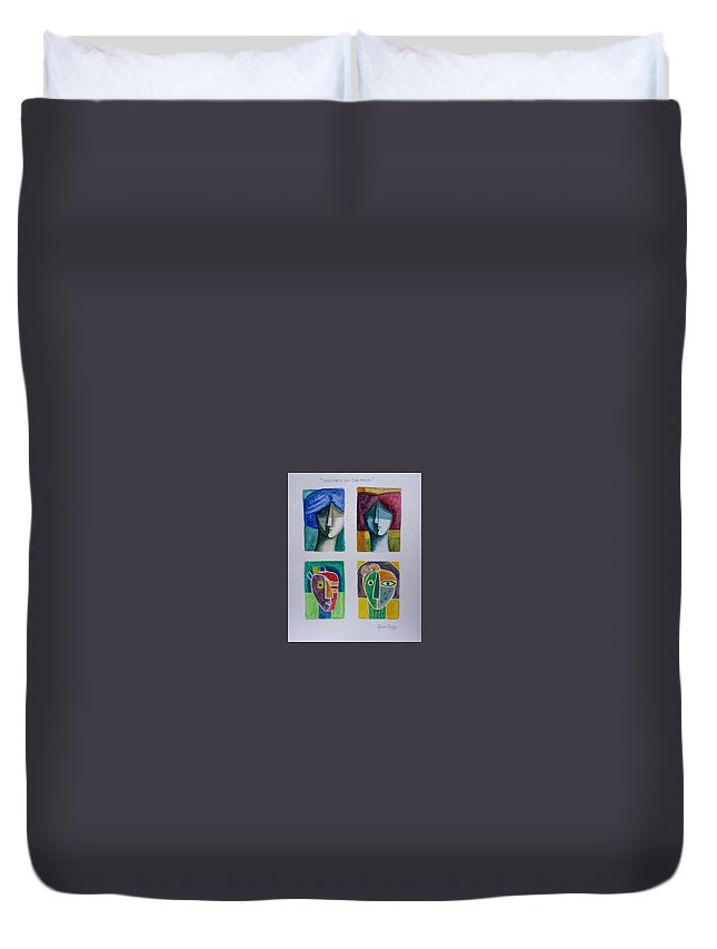 Watercolor Duvet Cover featuring the painting Carnival Masks by Osvaldo Herrera Graham