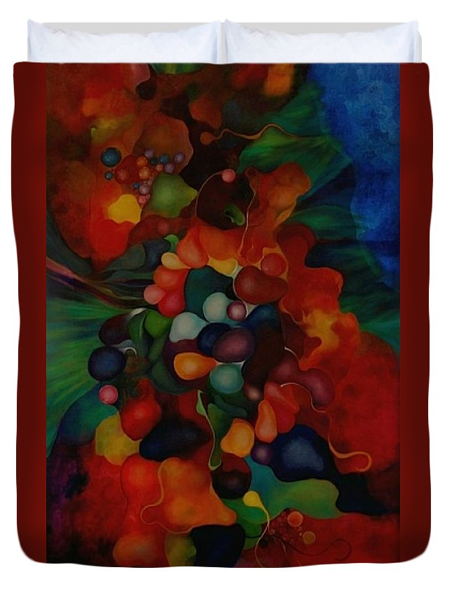 Abstract Duvet Cover featuring the painting Carnival by Peggy Guichu