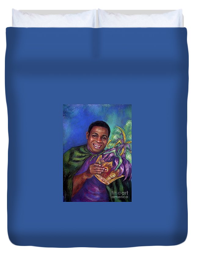 Pasel. Mardi Gras Duvet Cover featuring the painting Carnival Time by Beverly Boulet