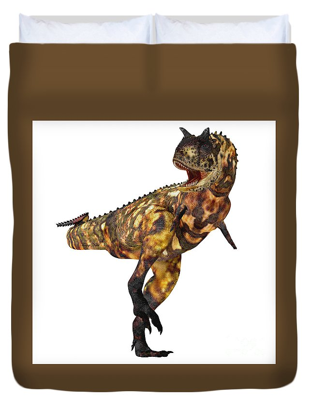 Carnotaurus Duvet Cover featuring the painting Carnotaurus Profile by Corey Ford