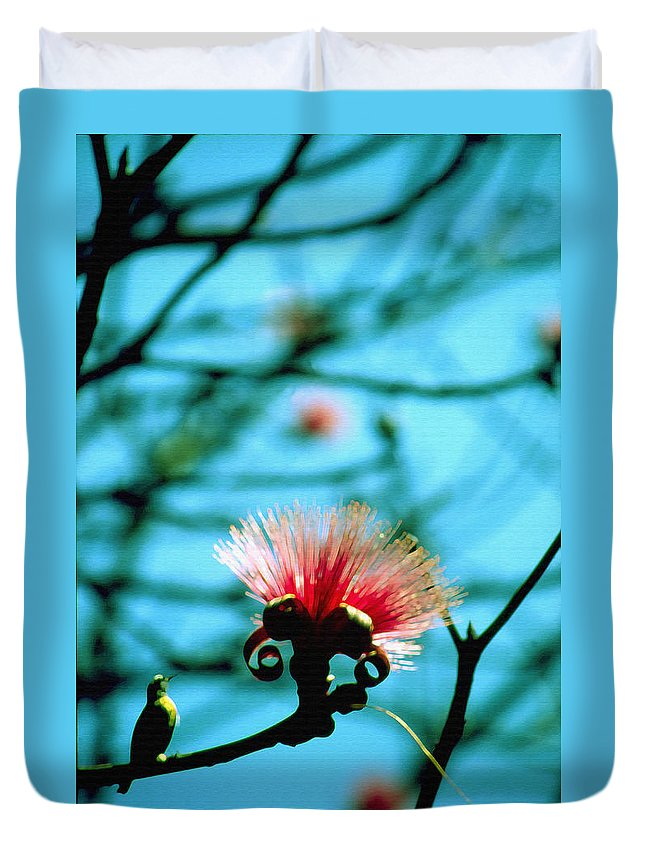 Caolina Flower Duvet Cover featuring the photograph Carolina Flower And Bird by Luciano Comba