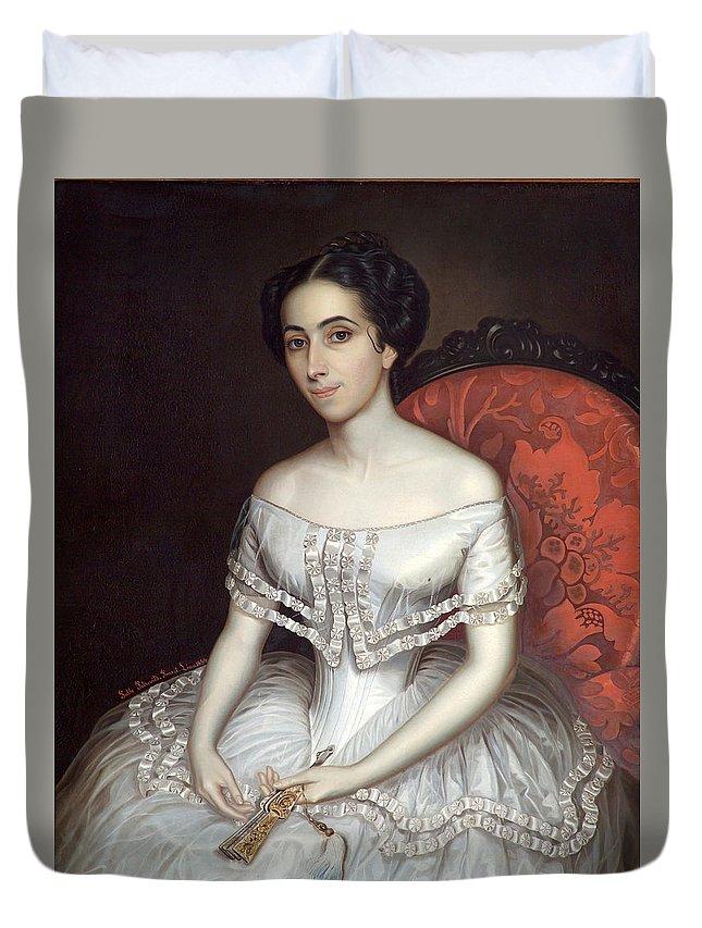 Pablo Petrovits Duvet Cover featuring the painting Carolina Gutierrez De La Fuente by Pablo Petrovits