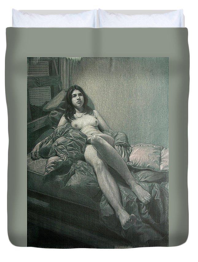 Figure Duvet Cover featuring the painting Carolina Reclining by Joe Velez