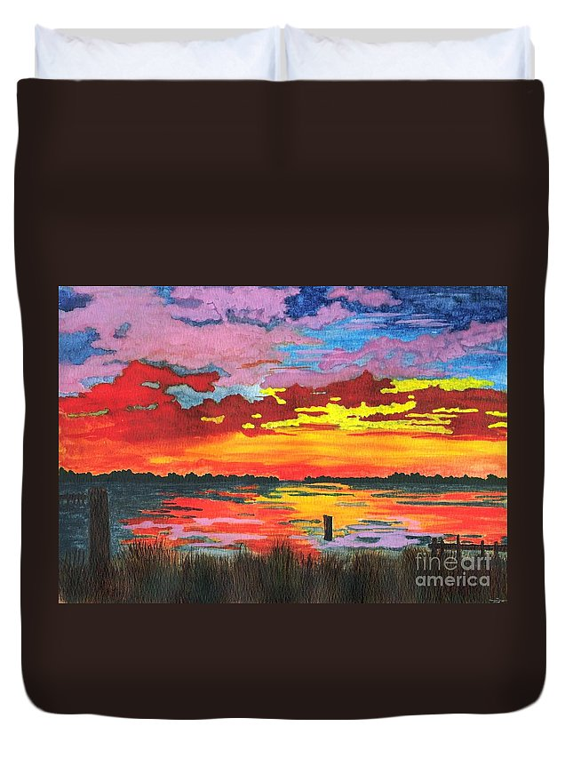 Original Painting Duvet Cover featuring the painting Carolina Sunset by Patricia Griffin Brett