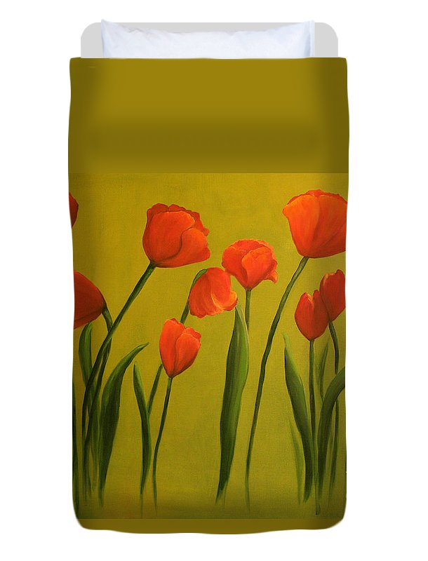 Red Duvet Cover featuring the painting Carolina Tulips by Carol Sweetwood