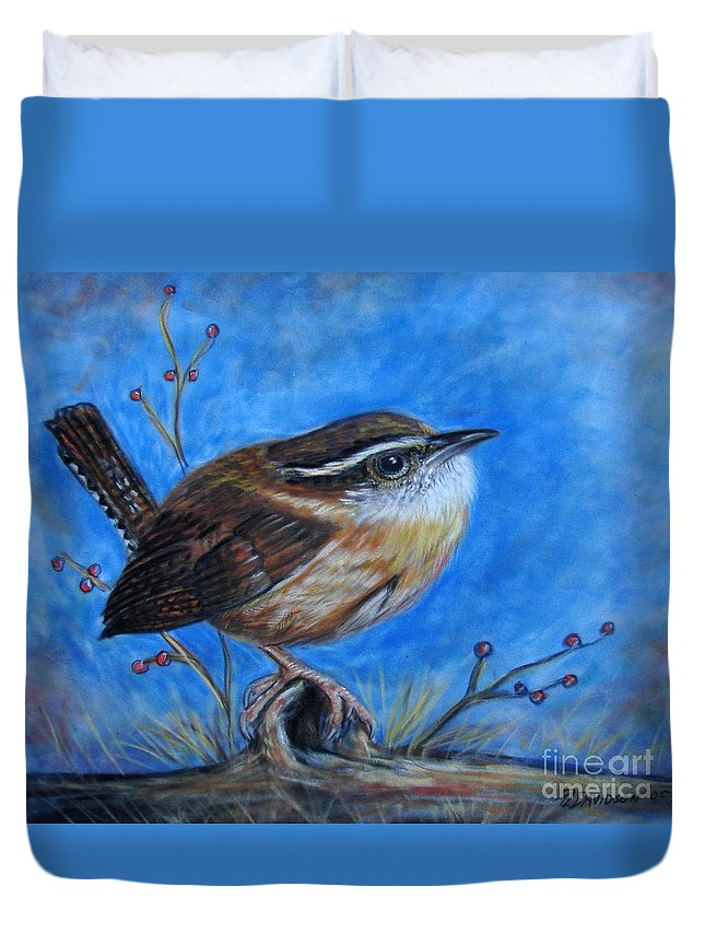 Birds Duvet Cover featuring the painting Carolina Wren by Patricia L Davidson