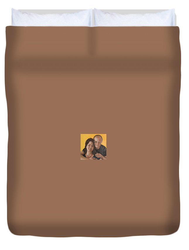 Portrait Duvet Cover featuring the painting Caroline And Rob by Rob De Vries