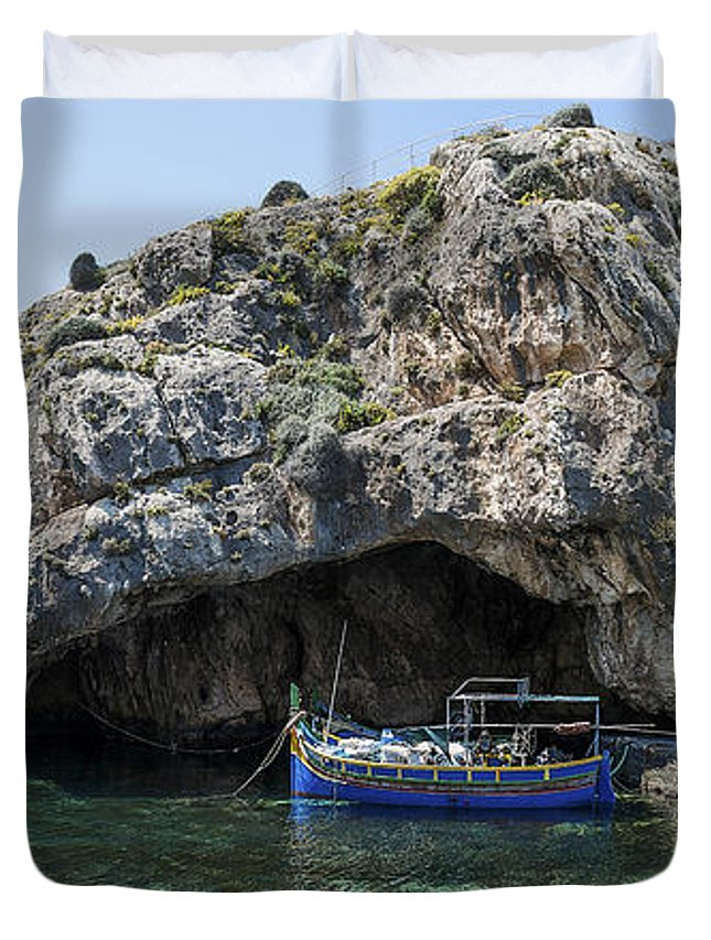 Xlendi Duvet Cover featuring the photograph Caroline Cave And Maltese Traditional Boat by Focus Fotos