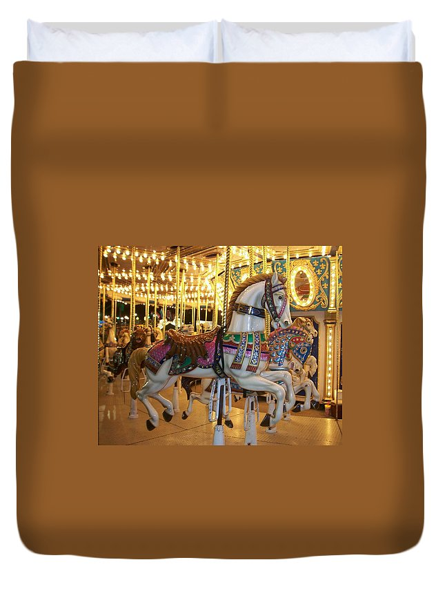 Carosel Horse Duvet Cover featuring the photograph Carosel Horse by Anita Burgermeister