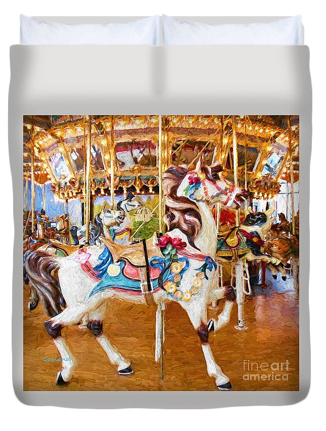 Horse Duvet Cover featuring the mixed media Carousel Dreams II by Garland Johnson
