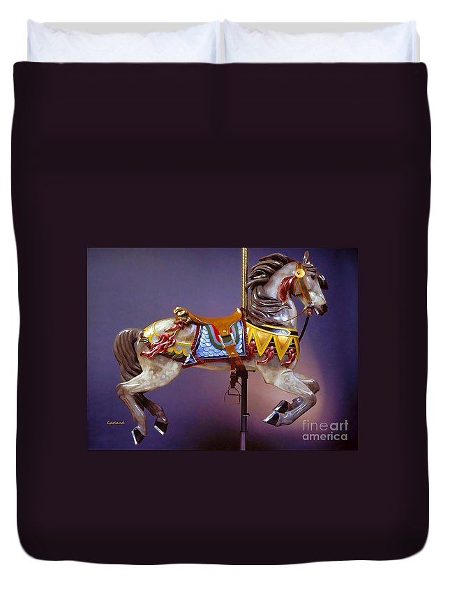 Horse Duvet Cover featuring the mixed media Carousel Dreams IIi by Garland Johnson