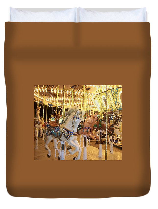 Carosel Horse Duvet Cover featuring the photograph Carousel Horse 2 by Anita Burgermeister