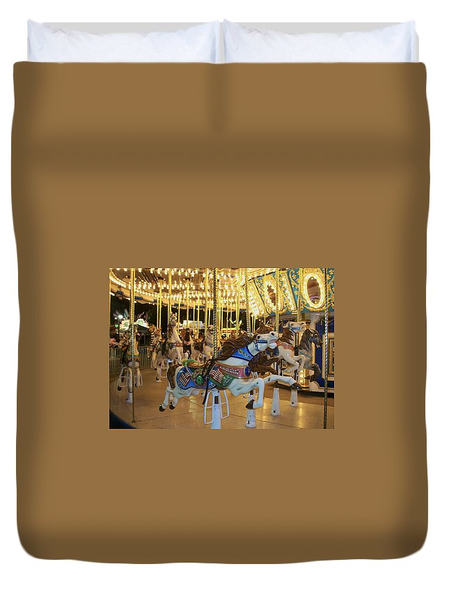 Carousel Horse Duvet Cover featuring the photograph Carousel Horse 3 by Anita Burgermeister